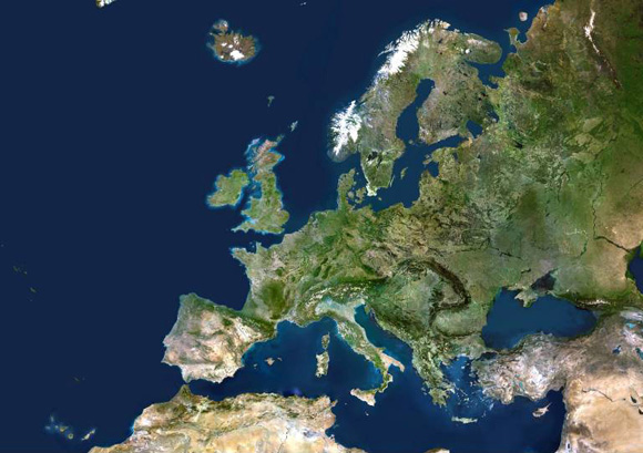 25 European Member States True Colour Satellite Image Expanded European Union EU True colour sa